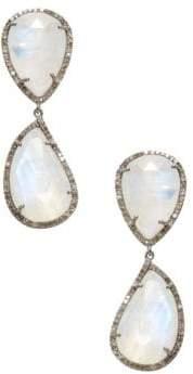 Silver, Moonstone & Champagne Diamond Drop Earrings