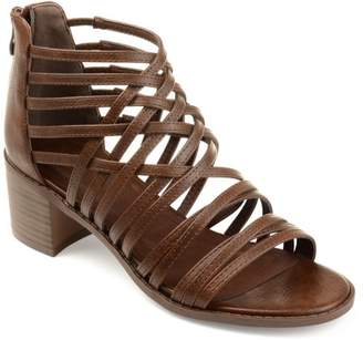Co Brinley Womens Faux Leather Caged Criss-cross Heeled Sandals