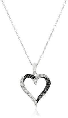 Black Diamond 10K Gold Black & Diamond Heart Pendant Necklace (1/3 cttw)