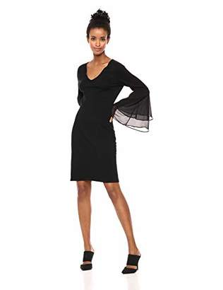 fc5315de774 at Amazon.com · Calvin Klein Women s V Neck Sweater Dress with Tiered  Chiffon Bell Sleeve