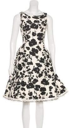 Oscar de la Renta Feather-Trimmed A-Line Dress