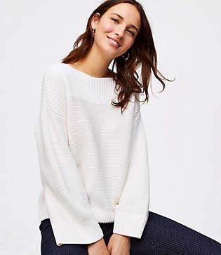 LOFT Ribbed Boatneck Sweater