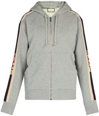 Gucci Logo-stripe cotton hooded sweatshirt