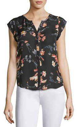 Joie Iva Floral-Print Cap-Sleeve Silk Blouse, Black $208 thestylecure.com
