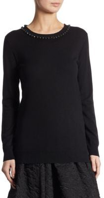 Weekend Max Mara Beaded Crewneck Sweater $325 thestylecure.com