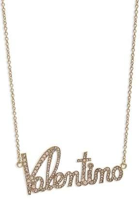 Valentino Crystal Logo Statement Necklace