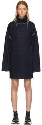 Maison Margiela (メゾン マルジェラ) - MM6 Maison Martin Margiela ブルー スパークリング ニット ジャージ オーバーサイズ ドレス