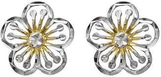 14K Gold Two-tone Flower Post Earrings