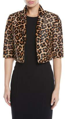 Michael Kors Leopard-Print Calf Hair Cropped Bolero Jacket