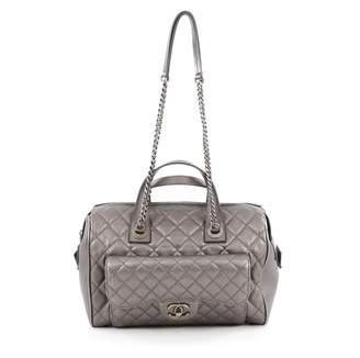 Chanel Silver Leather Handbag
