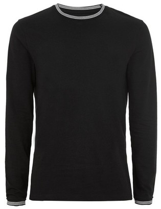 Topman Mens Black Muscle Fit Tipped Ringer T-Shirt