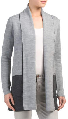 Double Knit Shawl Collar Color Block Cardigan