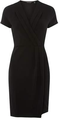 Dorothy Perkins Womens Black Pleat Wrap Pencil Dress