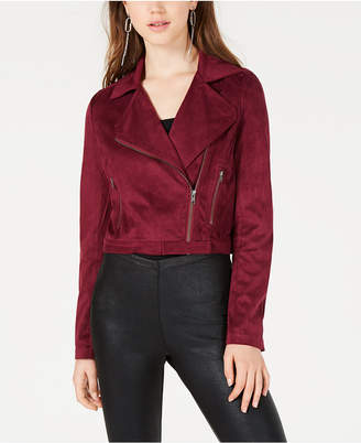 Material Girl Juniors' Faux-Suede Moto Jacket