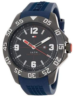 Tommy Hilfiger Men's Round Silicone Strap Watch, 46mm