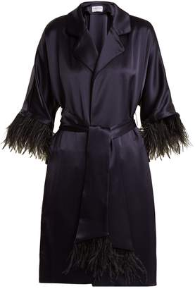 Osman Eve feather-trimmed satin coat