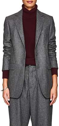 Officine Generale Women's Pinstriped Wool Flannel Blazer - Gray