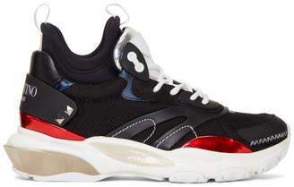 Valentino Black and Silver Garavani Bounce High-Top Sneakers