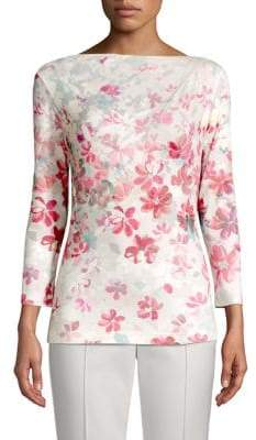 St. John Brush-Stroke Floral Stretch Top