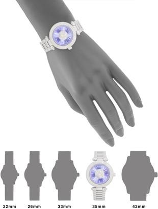 Versace Crystal Bezel Logo Stainless Steel Bracelet Watch