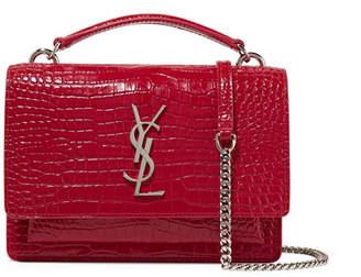 Saint Laurent Sunset Small Croc-effect Patent-leather Shoulder Bag - Red