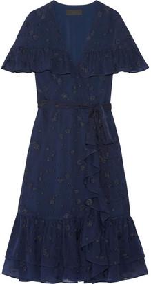 Co - Ruffled Wrap-effect Fil Coupé Silk-chiffon Dress - Midnight blue $1,595 thestylecure.com