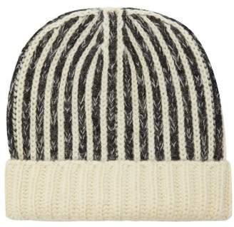 Saint Laurent Striped Wool Beanie Hat - Mens - Black White