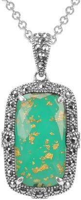 Suspicion Sterling Green Agate & Marcasite Pendant