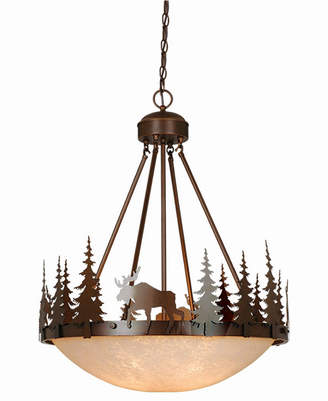 Vaxcel Yellowstone Rustic Moose Amber Glass Bowl Pendant Light