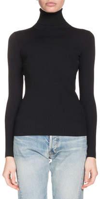 Balenciaga Turtleneck Long-Sleeve Ribbed Sweater with Logo Back