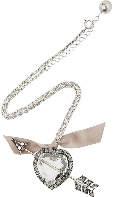 Lanvin Swarovski crystal heart and arrow necklace