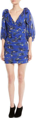 Camilla And Marc Stanwyck Ruched Mini Dress in Peony Print