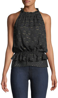 Ramy Brook Bobbi Ruffle Dot Applique Metallic Top