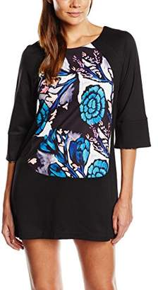 Almost Famous Women's Oriental Floral Panel Tunic 3/4 Sleeve Dress