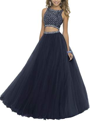 GRP Uryouthstyle Long Two Pieces Beaded Prom Gowns Bodice Evening Dress RD US