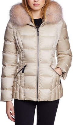 Dawn Levy Nikki Fox-Fur Trim Mid-Weight Puffer