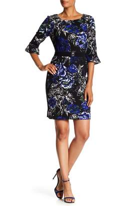 Connected Apparel Floral Print Bell Sleeve Belted Dress