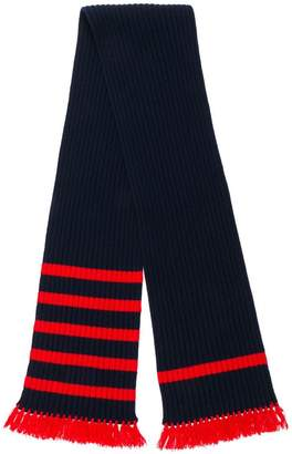 Prada fringed rib knit stripe trim scarf