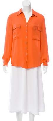 L'Agence Silk Long Sleeve Button-Up Blouse