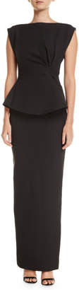 Rachel Gilbert Peplum Ruffle-Back Cinched-Waist Column Twill Evening Gown