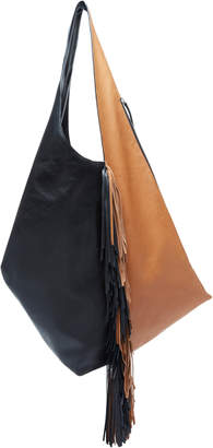 Isabel Marant Eenda Color-Blocked Fringe Leather Hobo Bag