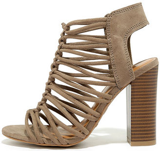 So You Taupe Suede Caged Heels $39 thestylecure.com