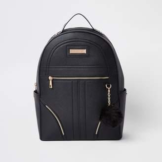 River Island Womens Black pom pom zip front backpack