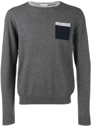 Sun 68 contrast chest pocket sweater