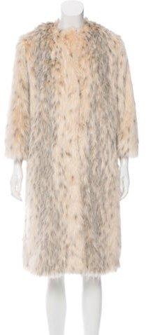 pradaPrada Faux Fur Knee-Length Coat