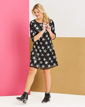 Simply Be Black Star Sequin Swing Dress