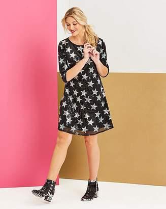 Black Star Sequin Swing Dress