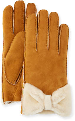 Neiman Marcus Shearling-Bow Suede Gloves
