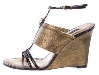 Louis Vuitton Embellished Metallic Leather Wedge Sandals