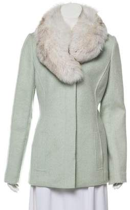 TSE Artic Snow Fox Fur-Trimmed Cashmere Jacket